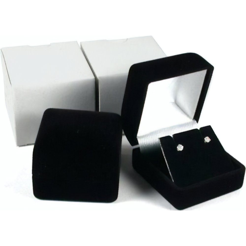 2 Black Flocked Earring Gift Boxes Jewelry Box