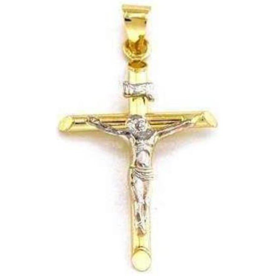 14K White Gold INRI Cross with Yellow Gold Jesus Crucifix Pendant Necklace