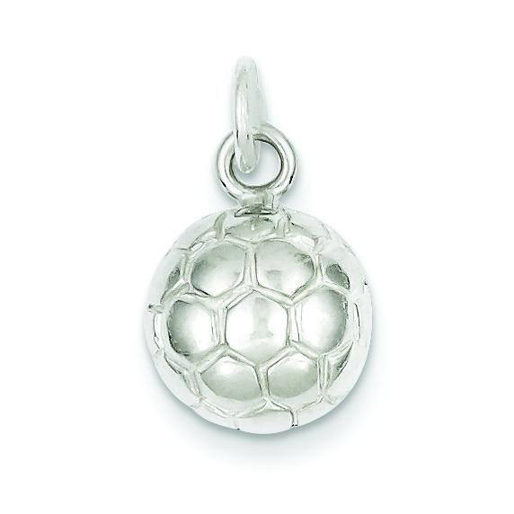 Sterling Silver Soccer Ball Charm /& 18 Chain