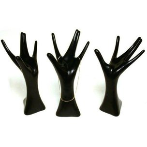 3 Black Mannequin Hand Necklace Ring Jewelry Showcase Displays