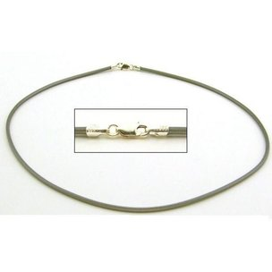 Rubber Cord Necklace Grey 16""