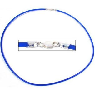 Rubber Cord Necklace Blue 16""
