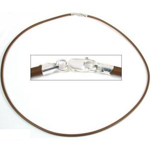 Rubber Cord Necklace Brown 18""