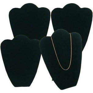4 Black Velvet Padded Necklace Pendant Bust Showcase Displays 10 7/8""