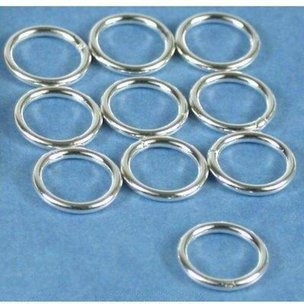 Round Closed Jump Rings Sterling Silver 18 Gauge 8mm 10Pcs