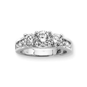 14K White Gold 2ct GH Diamond Anniversary Ring Sz 6.75