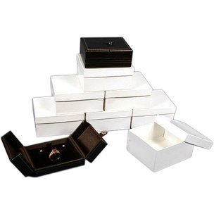 6 Ring Earring Boxes Black Leather Snap Lid Display