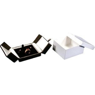 "Earring & Ring Combo Box Black Faux Leather 3 1/2"" (Only 1 Box)"