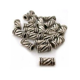 Bali Tube Nickel Plated Beads 11mm 20Pcs