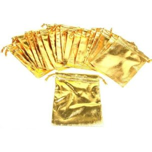 "24 Pouches Gold Gift Bag Drawstring Jewelry 4"" x 5"""