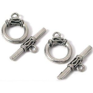 2 Bali Toggle Clasps Beading Antique Silver Bracelets Jewelry Art Craft