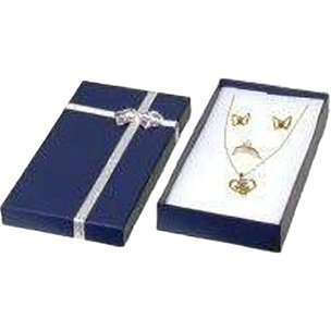 "Ring, Chain, Earring Combo Bow-Tie Gift Box Blue 6 1/4""  (Only 1 Box)"