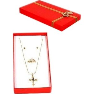 "Ring, Chain, Earring Combo Bow-Tie Gift Box Red 6 1/4""  (Only 1 Box)"