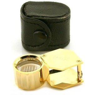 10x Hexagon Loupe Gold Tone 21mm