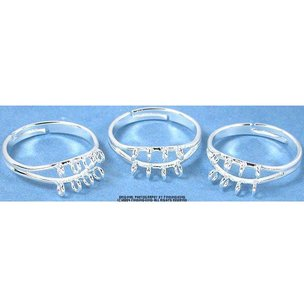 3 Silver Plated Adjustable Rings With Hoops