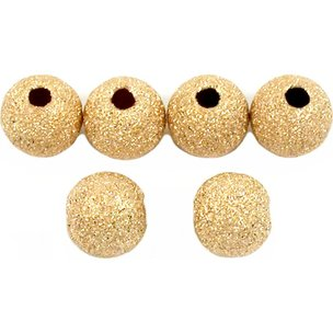 6 Gold Filled Stardust Round Ball Beads Jewelry 6mm