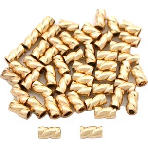 Crimp Beads Twisted Gold Filled 3mm 50Pcs