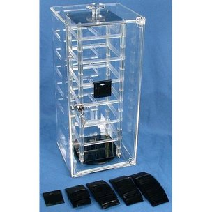 Locking Revolving Earring Display Case 100 Black Cards