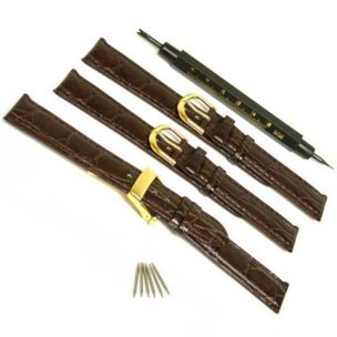 3 Leather Watch Band Strap Straps Deployment Buckle Watchmakers Spring Bar Tool