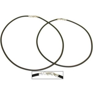 "Rubber Cord Necklaces Black 16"" & 18"" 2Pcs"