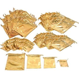 144 Pouches Gold 4 Sizes Jewelry Wedding Favor Gift Bag
