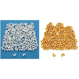Silver Plated & Gold Tone Crimp Bead Covers Kit 288 Pcs