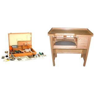 Jewelers Work Bench with Case of 64 Watch Repair Tools