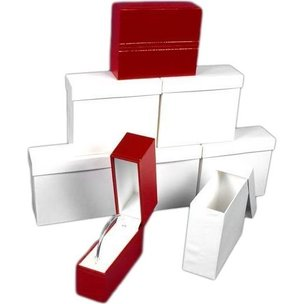 6 Bangle Bracelet Boxes Red Leather Gift Display Box