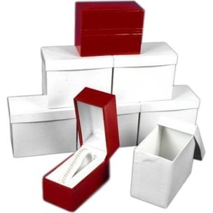 6 Red Leather Bracelet Watch Boxes Gift Displays