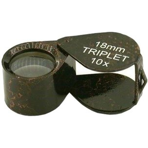 10x Round Triplet Loupe Black 18mm