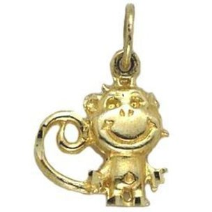 Monkey Charm 14k Gold 18mm