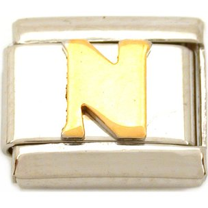 N Italian Charm Gold Plated Letter