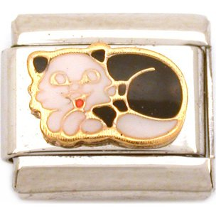 Sleeping Cat Italian Charm Enamel Bracelet Jewelry 9mm