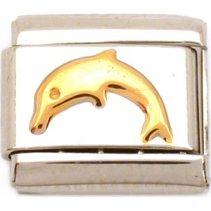 Stainless Steel Dolphin Italian Charm 9mm