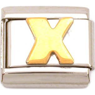 X Italian Charm Gold Plated Letter