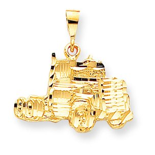 10K Yellow Gold Semi Truck Charm Diamond-Cut