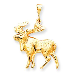 10K Yellow Gold Moose Charm Diamond Cut