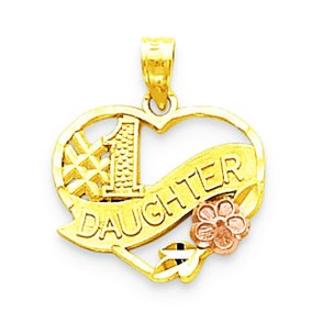 10K Two Tone Gold #1 Daughter Heart Charm