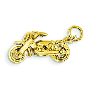 14K Yellow Gold 3D Motorcycle Charm