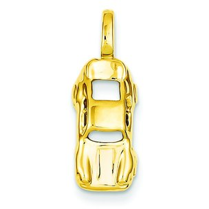 14K Yellow Gold 3D Sports Car Charm