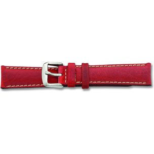 de Beer Red Sport Leather Watch Band (16 to 24mm)
