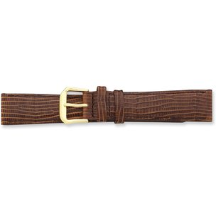 de Beer Brown Snake Grain Leather Watch Band (12 to 20mm)