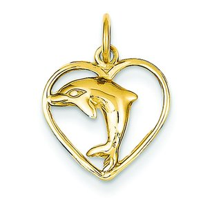 14K Yellow Gold Dolphin in Heart Charm