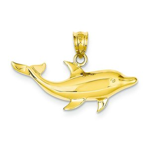 14K Yellow Gold Dolphin Charm