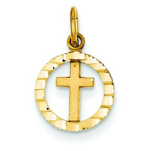 14K Gold Cross In Circle Charm