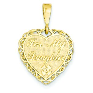 14K Gold Reversible For My Daughter Heart Charm