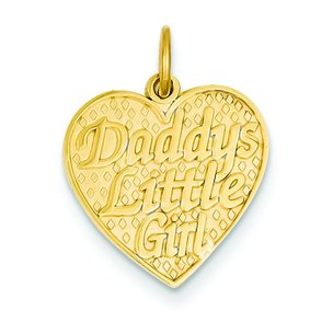 14K Gold Daddys Little Girl Heart Charm