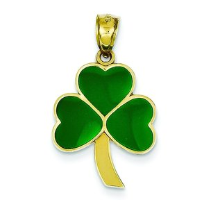 14K Gold Green Enameled Shamrock Charm