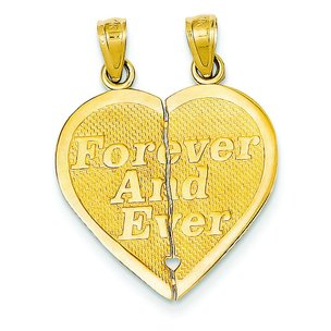 14K Gold Reversible Forever and Ever Breakable Heart Charm