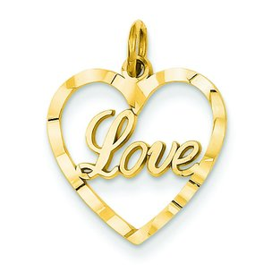 14K Gold Love Heart Charm